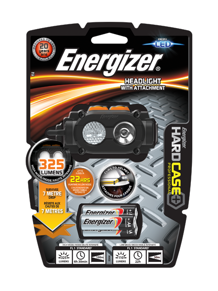 Energizer<sup>®</sup> Hardcase Pro Headlight with attachment
