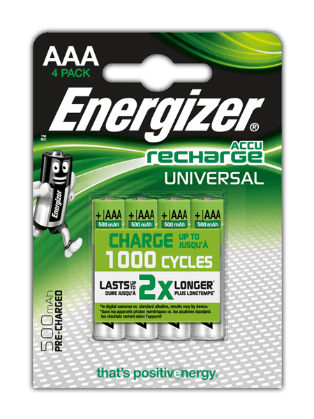 Energizer<sup>®</sup> Recharge Universal – AAA